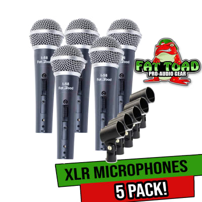 Studio Recording Microphones with Clips (5 Pack) by FAT TOAD | Vocal Handheld, Unidirectional Wired