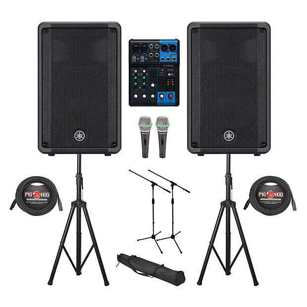 Yamaha DBR10 DBR Series 700W Powered Speaker (Pair) with Mixers Console and  Accessories