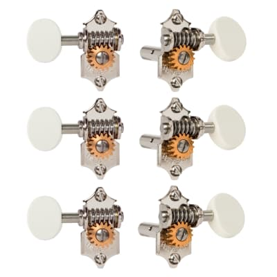 Waverly Guitar Tuners with White Knobs for Slotted Pegheads, Nickel, 3L/3R for sale