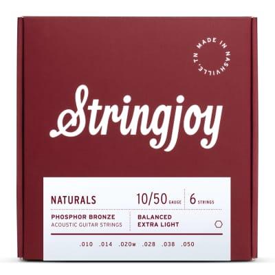 Stringjoy Naturals Extra Light Gauge (10-50) Phosphor Bronze Acoustic Guitar Strings