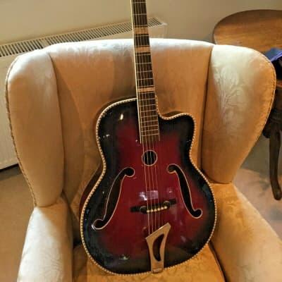 1950s vintage German archtop jazz acoustic guitar, poss' Antoria, 3 sound holes for sale