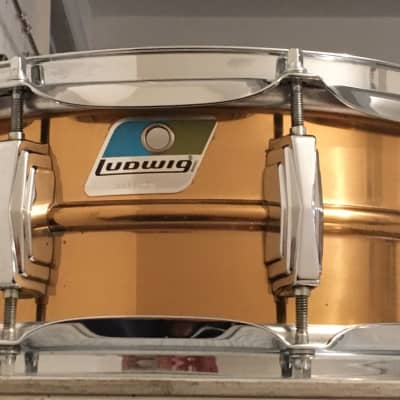 """Ludwig No. 550 Bronze 5x14"""" Snare Drum with Rounded Blue/Olive Badge 1981 - 1984"""