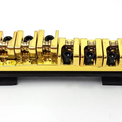Brio Locking Bridge With Brass Roller Saddles on Rosewood for Hollow Body Jazz Gold