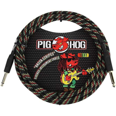 Pig Hog Instrument Cable 10 ft. Rasta Stripes, PCH10RA