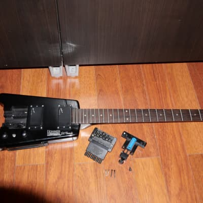 Hohner g2t 1987 black headless steinberger__with one broken tremolo stud for sale