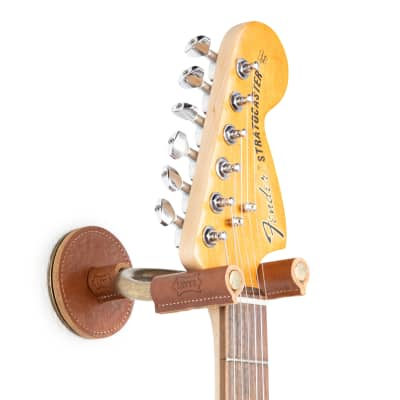 Levy's Leathers Forged Steel Guitar Hanger; Brass Metal with Tan Veg-Tan Leather Yoke Wraps for sale