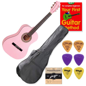 School Guitar Starter Pack Left Handed 3/4 Size Pink for sale