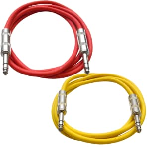"Seismic Audio SATRX-6-REDYELLOW 1/4"" TRS Patch Cables - 6' (2-Pack)"