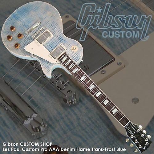 gibson custom pro les paul aaa 2011 denim flame frost blue reverb. Black Bedroom Furniture Sets. Home Design Ideas