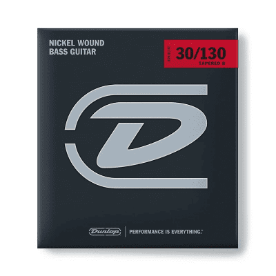Dunlop DBN30130T Nickel-Wound Stainless Steel 6-String Bass Strings with Tapered B (30-130)