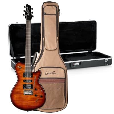 Godin (028672) xtSA Light Burst Flame Electric Guitar with Gig Bag, Gator GC-ELECTRIC-A Deluxe ABS Bundle