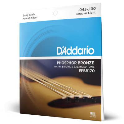 D'Addario #EPBB170 - Phosphor Bronze Long Scale Acoustic Bass Strings, 45-100