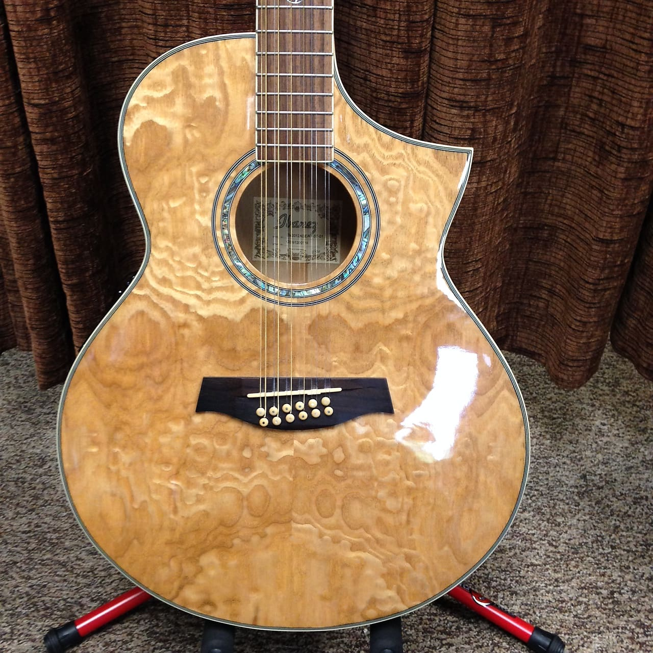 Ibanez Exotic Wood Ew2012ase Acoustic Electric 12 String Figured Ash Body