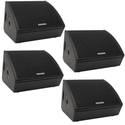 "(4) Samson RSXM12A - 800W 2-Way Active Stage Monitor (12"")."