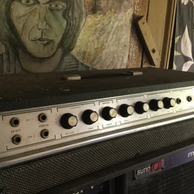 Lafayette Solid state amp head with reverb and tremolo 1960s-1970s Black/grey for sale