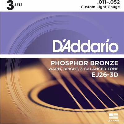 D'Addario EJ26-3D Phosphor Bronze Acoustic Guitar Strings 3-Pack, Custom Light Gauge