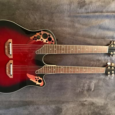 Ovation CSE225 Celebrity Deluxe Double Neck Ruby Red Burst for sale
