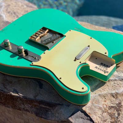 Real Life Relics Fully Loaded Tele Telecaster Body Aged Seafoam Green Double Bound