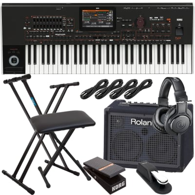 Korg Pa4X-61 ORIENTAL 61-key Professional Arranger, Roland KC220, Keyboard Stand, Bench, Korg EXP2 Pedal, Sustain Pedal, (4) 1/4 Cables, AT ATH-M20X Bundle