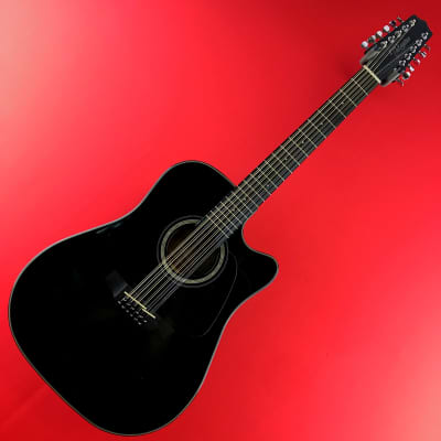 [USED] Takamine GD30CE-12 BLK Dreadnought Cutaway 12 String Acoustic Electric Guitar, Black (See Des