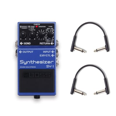 Boss SY-1 Synthesizer Pedal w/RockBoard Flat Patch Cables Bundle
