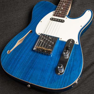G&L ASAT Classic Semi-Hollow Clear Blue w/ Wood Binding