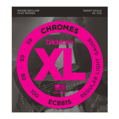 D'Addario ECB81S Short Scale Light Chromes Bass Strings 45-100 Gauge