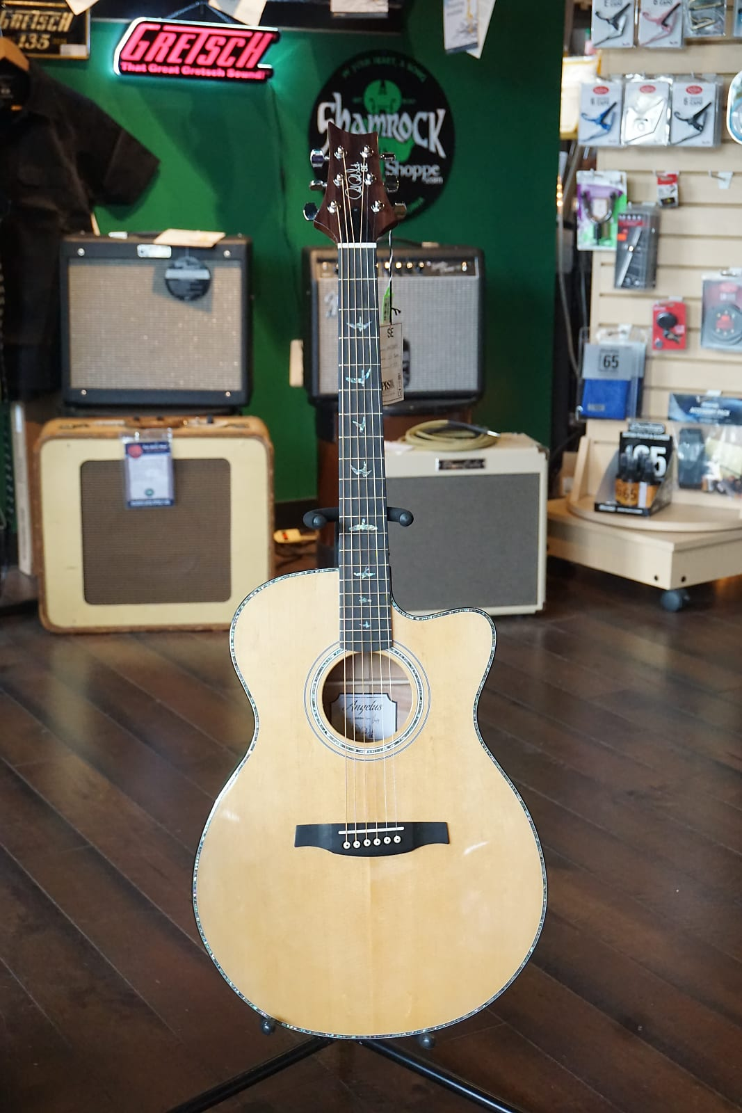990bf8976e4 New PRS SE Angelus A55EBH Abaco Green Acoustic Electric Guitar w/ Hard Case