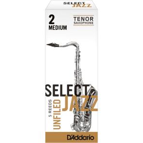 Rico RRS05TSX2M Select Jazz Tenor Saxophone Reeds, Unfiled - Strength 2 Medium (5-Pack)