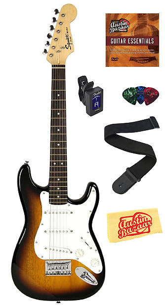 squier by fender mini strat electric guitar sunburst w reverb. Black Bedroom Furniture Sets. Home Design Ideas
