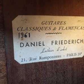 Daniel Friederich Classical guitar 1961 Natural for sale