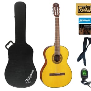 Takamine GC1 NAT Classical Acoustic Guitar, Natural, Case Bundle for sale