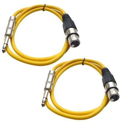 2 Pack of 1/4 Inch to XLR Female Patch Cables 2 Foot Extension Cords Jumper - Yellow and Yellow