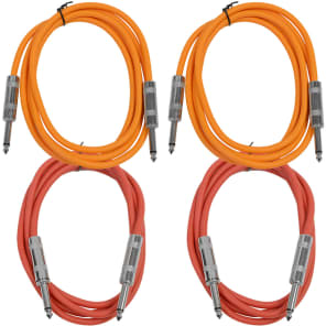 """Seismic Audio SASTSX-6-2ORANGE2RED 1/4"""" TS Male to 1/4"""" TS Male Patch Cables - 6' (4-Pack)"""