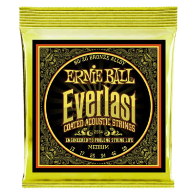 Ernie Ball Everlast Medium Coated 2554 80/20 Bronze Acoustic Guitar Strings