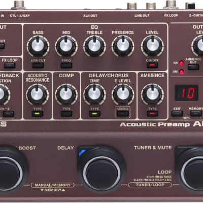 Boss AD-10 Acoustic Preamp Guitar Processor Pedal with EQ, Looper, Compression, Tuner and XLR for sale