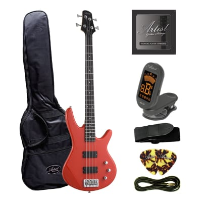 Artist AG105RD Electric Bass Guitar Plus Accessories - Solid Red for sale