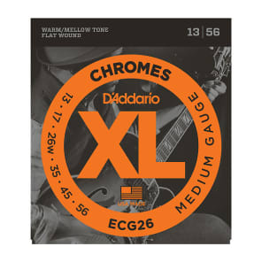 D'Addario ECG26 XL Chromes Flatwound Electric Guitar Strings, Medium Gauge Standard