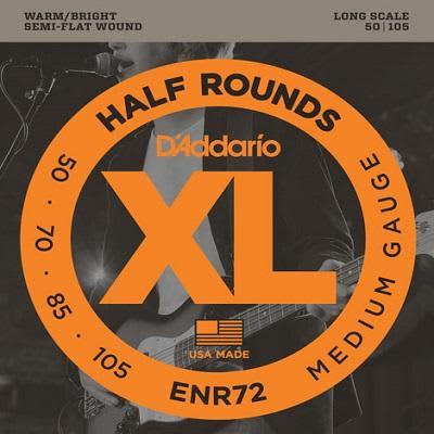 D'Addario XL Half Rounds Bass Strings ENR72 Long 50 - 105