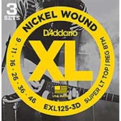D'Addario EXL125-3D Nickel Wound Electric,  Light Top/Regular Bottom, 9-46, 3 Pack for sale