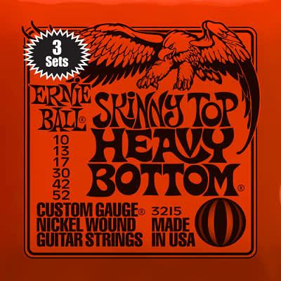 Ernie ball Slinky Nickelwound 3 x sets of Skinny Top Heavy Bottom Guitar Strings 10-52 for sale