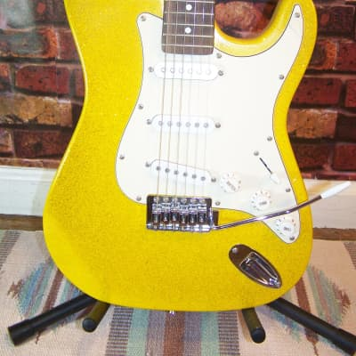 Mahar Strat Style Electric guitar, Yellow Sparkle finish for sale