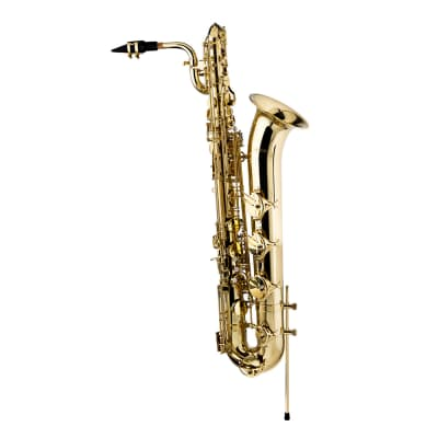 Stagg LV-BS4105 Key of Eb Baritone Saxophone w/Flight Case, Mouthpiece, Reed, Ligature, Cap, & Swab