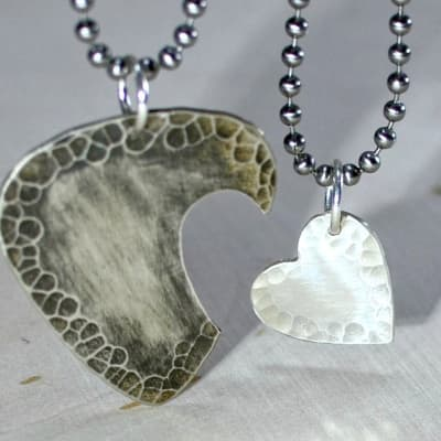 Sterling silver guitar pick and heart couples interlocking necklaces - Copper Pick Sterling Heart