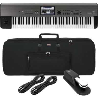 Korg Krome EX 73 – Music Workstation, Gator GKB76 Bag, Sustain Pedal, (2) 1/4 Cables Bundle