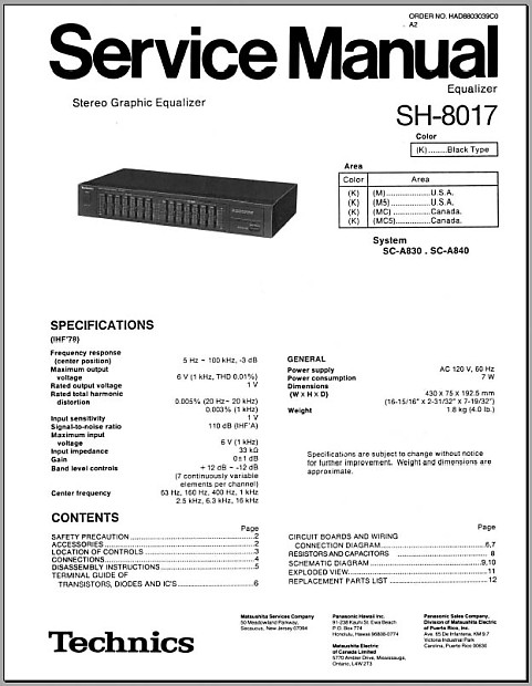 Technics SH-8017 7 band graphic stereo equalizer 1989 Black