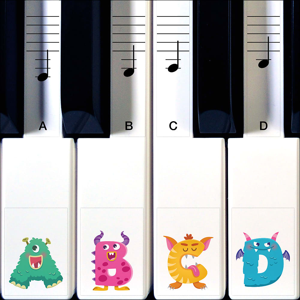 Monster Piano Stickers for Learning Piano or Keyboard that Grow with Your Child