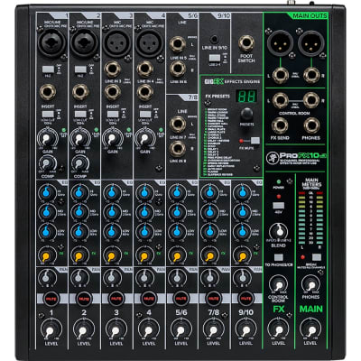 Mackie ProFX10V3 Mixer, 4 Onyx Mic Pres, 2 Compressors, GigFX Effects Engine
