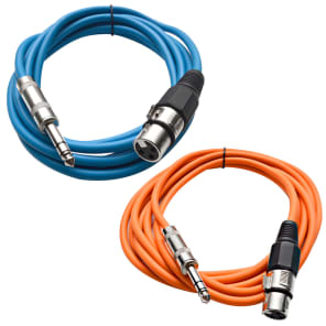 """Seismic Audio SATRXL-F10-BLUEORANGE 1/4"""" TRS Male to XLR Female Patch Cables - 10' (2-Pack)"""