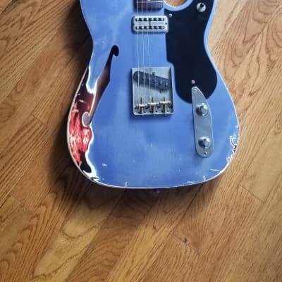 RebelRelic  T-Style Semi-Hollow  2017 Pelham Blue over Sunburst for sale